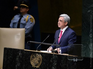 Sarkisian delivers his statement at the 69th session of the UN General Assembly.